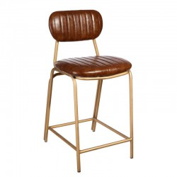 Chaise de bar Simili Cuir Cognac vintage - Univers Salon et Assises : Tousmesmeubles