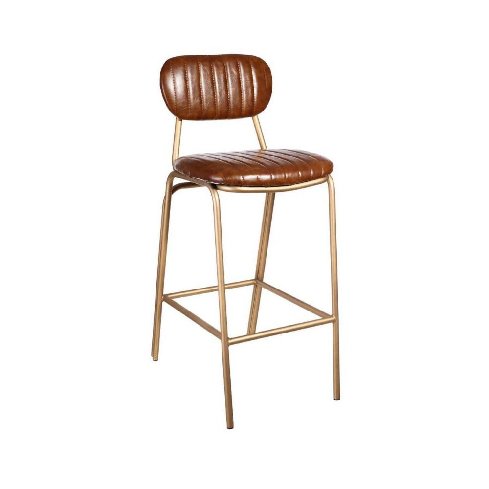Chaise de bar Simili Cuir Cognac vintage - Univers Assises et salon : Tousmesmeubles