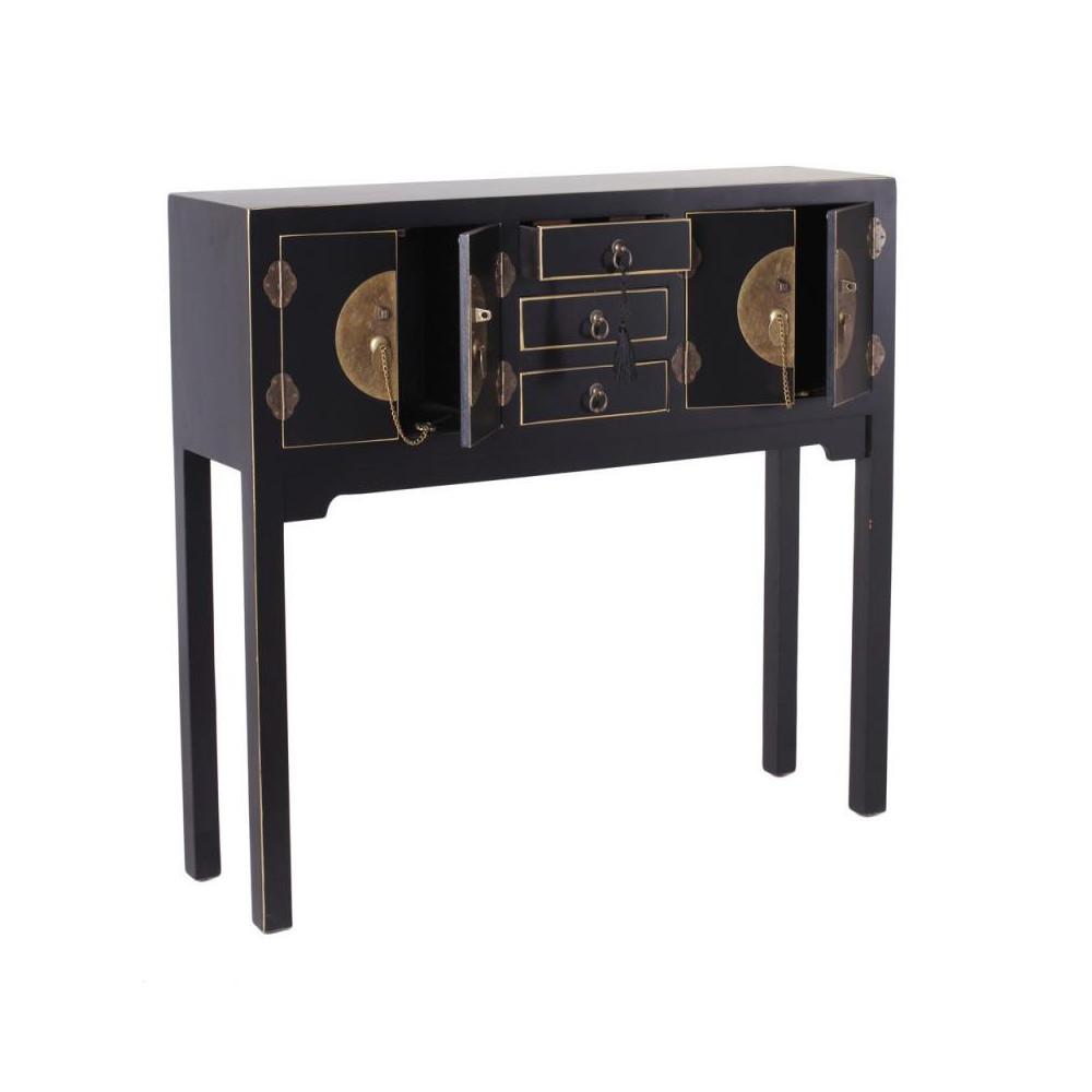 Console 4 portes, 3 tiroirs Noire Meuble Chinois - PEKIN