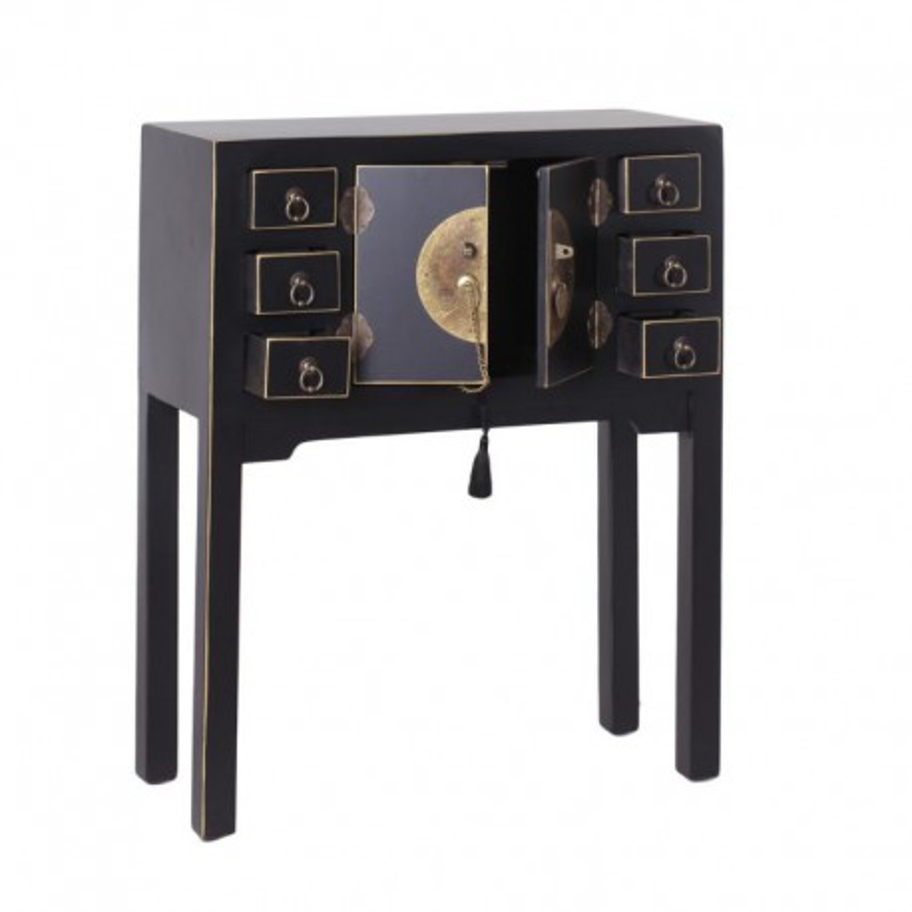 Console 2 portes, 6 tiroirs Noire Meuble Chinois - PEKIN