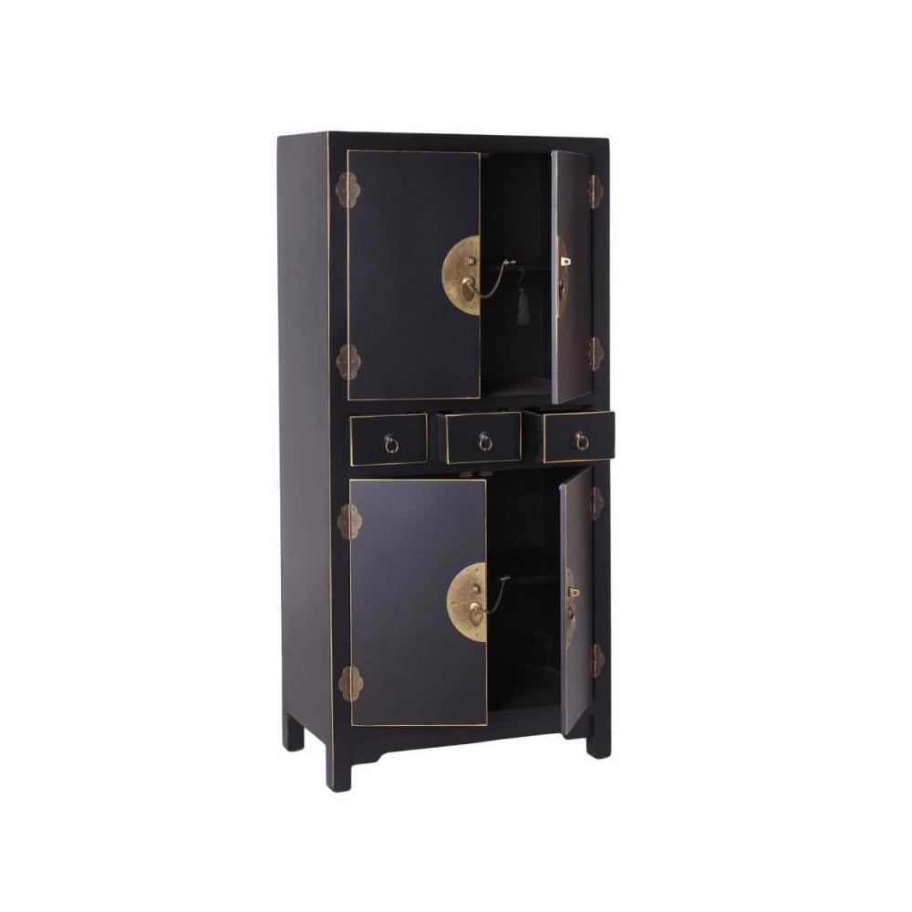 Armoire 4 portes, 3 tiroirs Noire Meuble Chinois - PEKIN