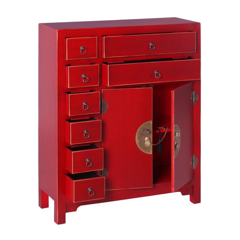 Meuble d'entrée 2 portes, 8 tiroirs Rouge Meuble Chinois - PEKIN
