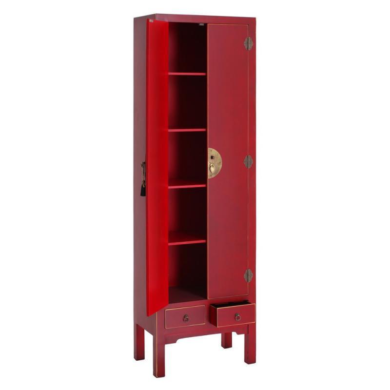 Armoire lingère 2 portes, 2 tiroirs Rouge Meuble Chinois - PEKIN