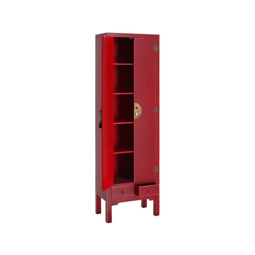 Armoire lingère 2 portes, 2 tiroirs RougeMeuble Chinois - PEKIN