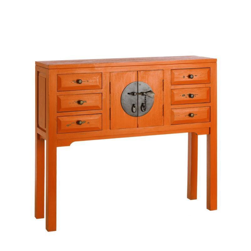 Console 2 portes, 6 tiroirs Orange Meuble Chinois - PEKIN
