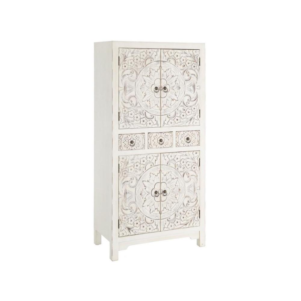 Armoire 4 portes, 3 tiroirs Blanche Meuble Chinois - PEKIN