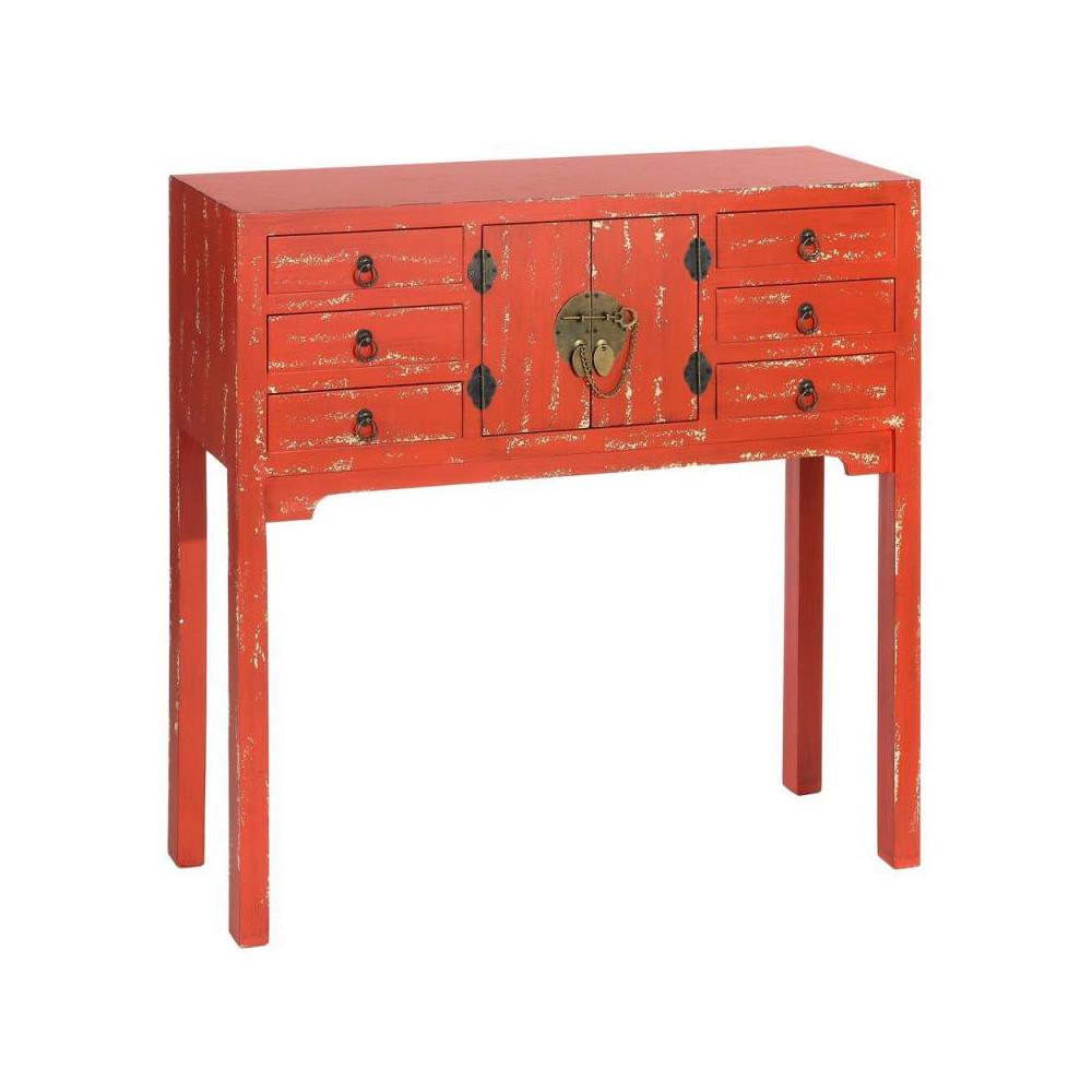 Console 2 portes, 6 tiroirs Rouge vieilli Chinois - PEKIN