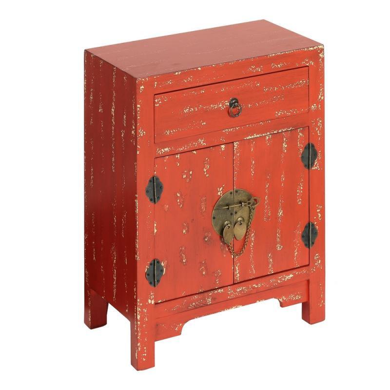 Confiturier 2 portes, 1 tiroir Rouge vieilli Chinois - PEKIN