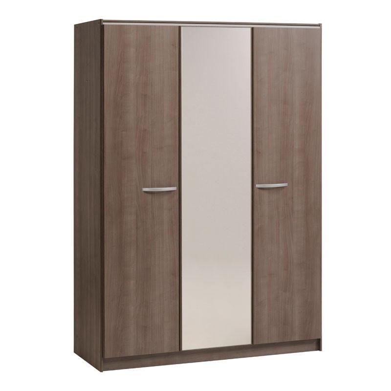 Armoire dressing 3 portes miroir bois brun - Univers Chambre : Tousmesmeubles