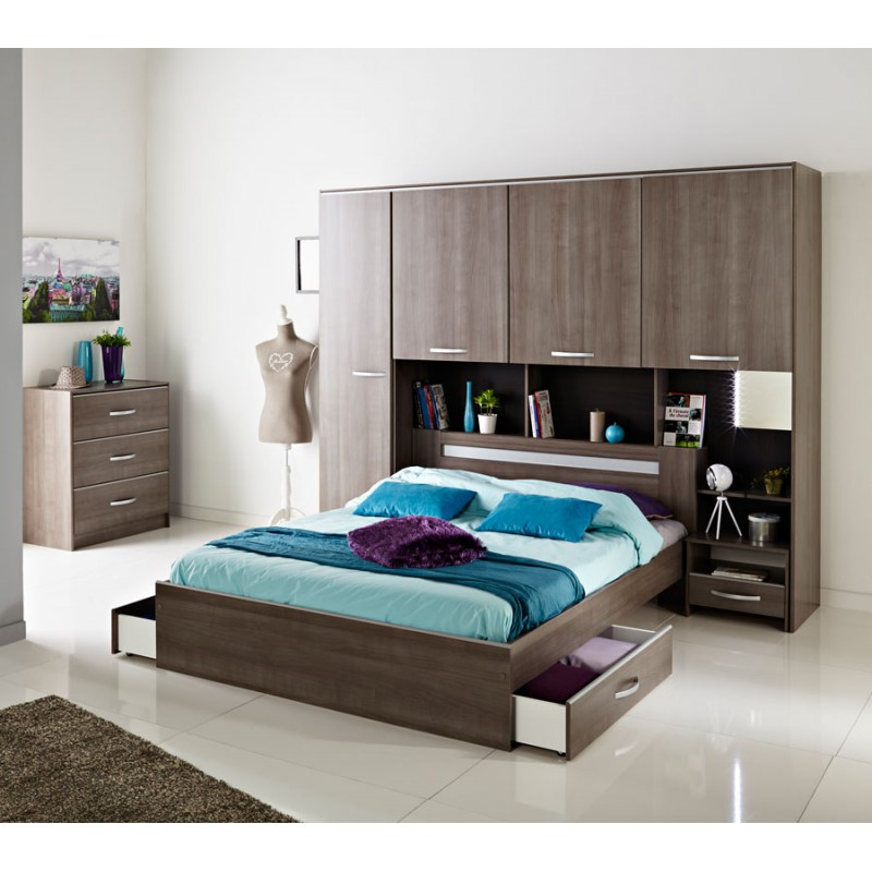 cadre de lit tiroirs t te de lit 140 190 evy univers chambre. Black Bedroom Furniture Sets. Home Design Ideas