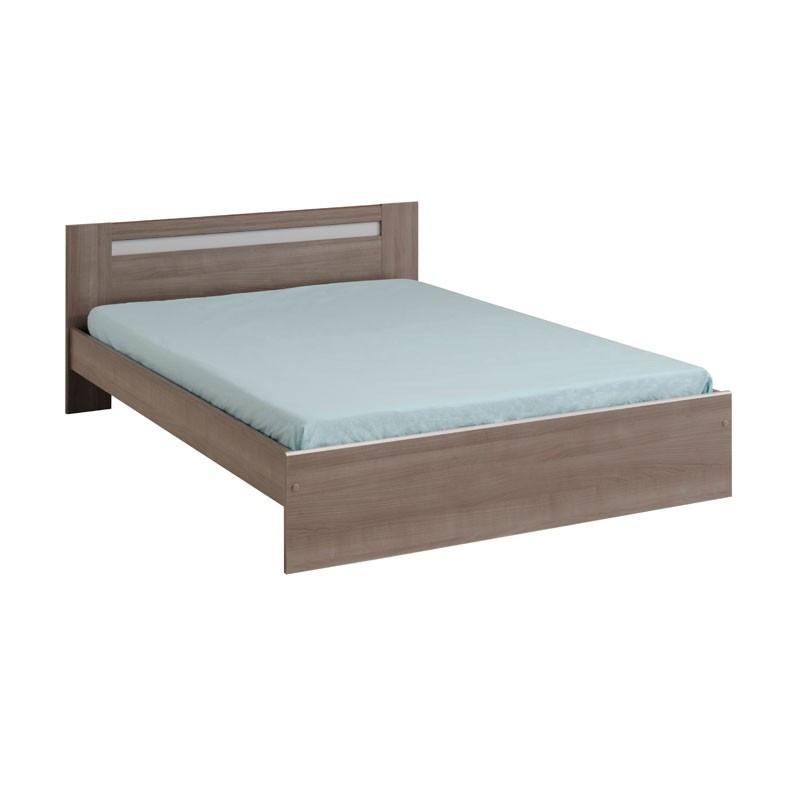 Cadre de lit + Tête de lit 140*190 bois brun moderne - Univers Chambre : Tousmesmeubles