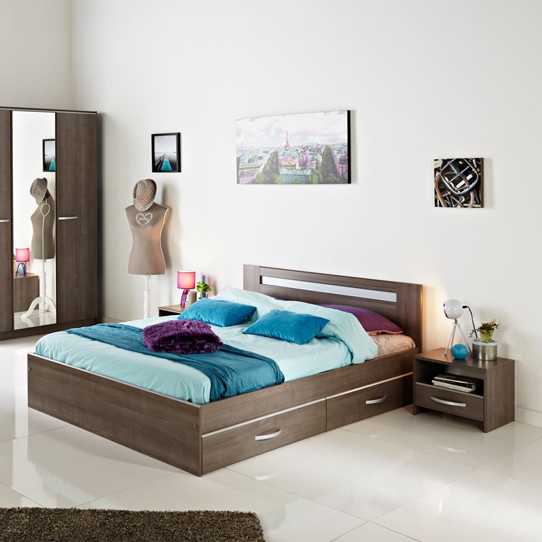 cadre de lit tiroirs t te de lit 160 200 evy univers chambre. Black Bedroom Furniture Sets. Home Design Ideas