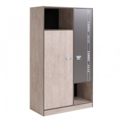 Armoire 2 portes 2 niches ado industriel - Univers Chambre : Tousmesmeubles