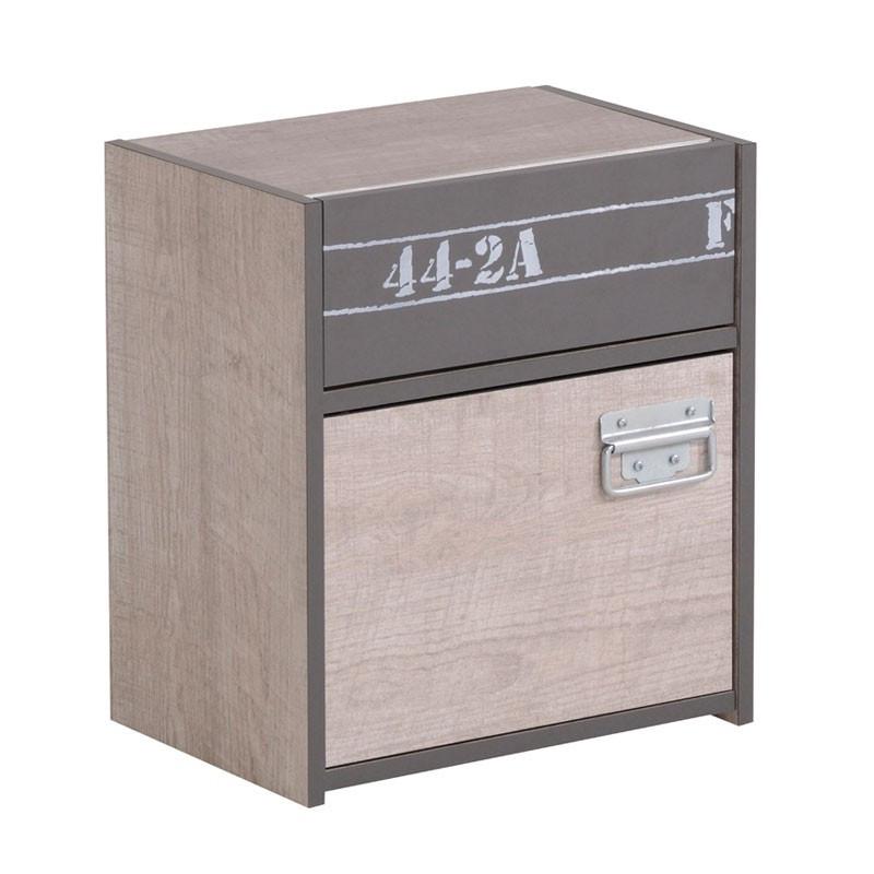 Table de chevet 1 porte 1 tiroir ado industriel - Univers Chambre : Tousmesmeubles