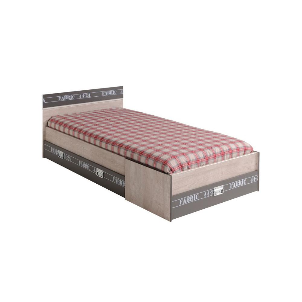 Cadre de lit à tiroirs + Tête de lit 90*200 ado loft - Univers Chambre : Tousmesmeubles