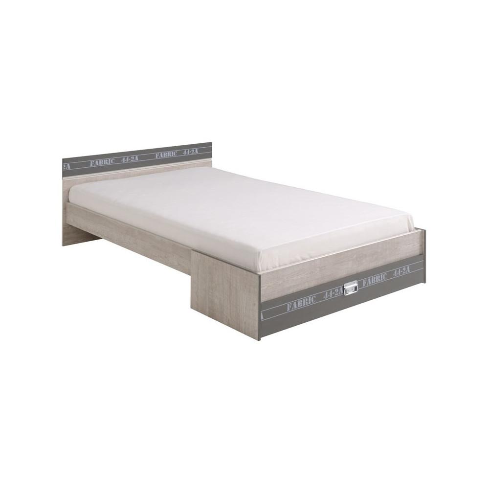 Cadre de lit + Tête de lit 120*200 ado loft - Univers Chambre : Tousmesmeubles