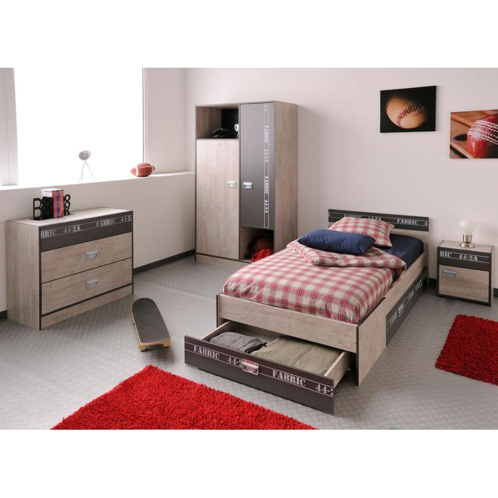 Chambre Enfant Complète (90*200) ado loft industriel - Univers Chambre : Tousmesmeubles
