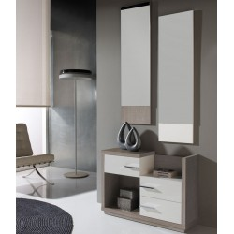 Meuble d'entrée Blanc/Chêne clair + miroirs - COLBY