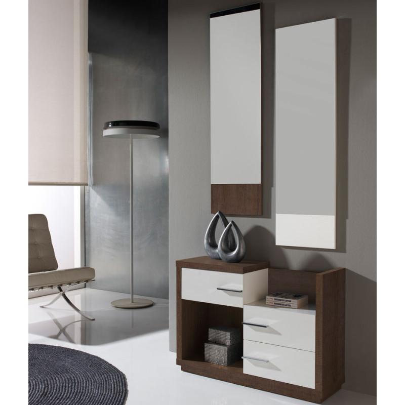 Meuble d'entrée Chêne foncé + miroirs - COLBY