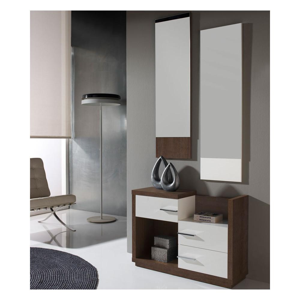 Meuble d'entrée Blanc/Chêne foncé + miroirs - COLBY