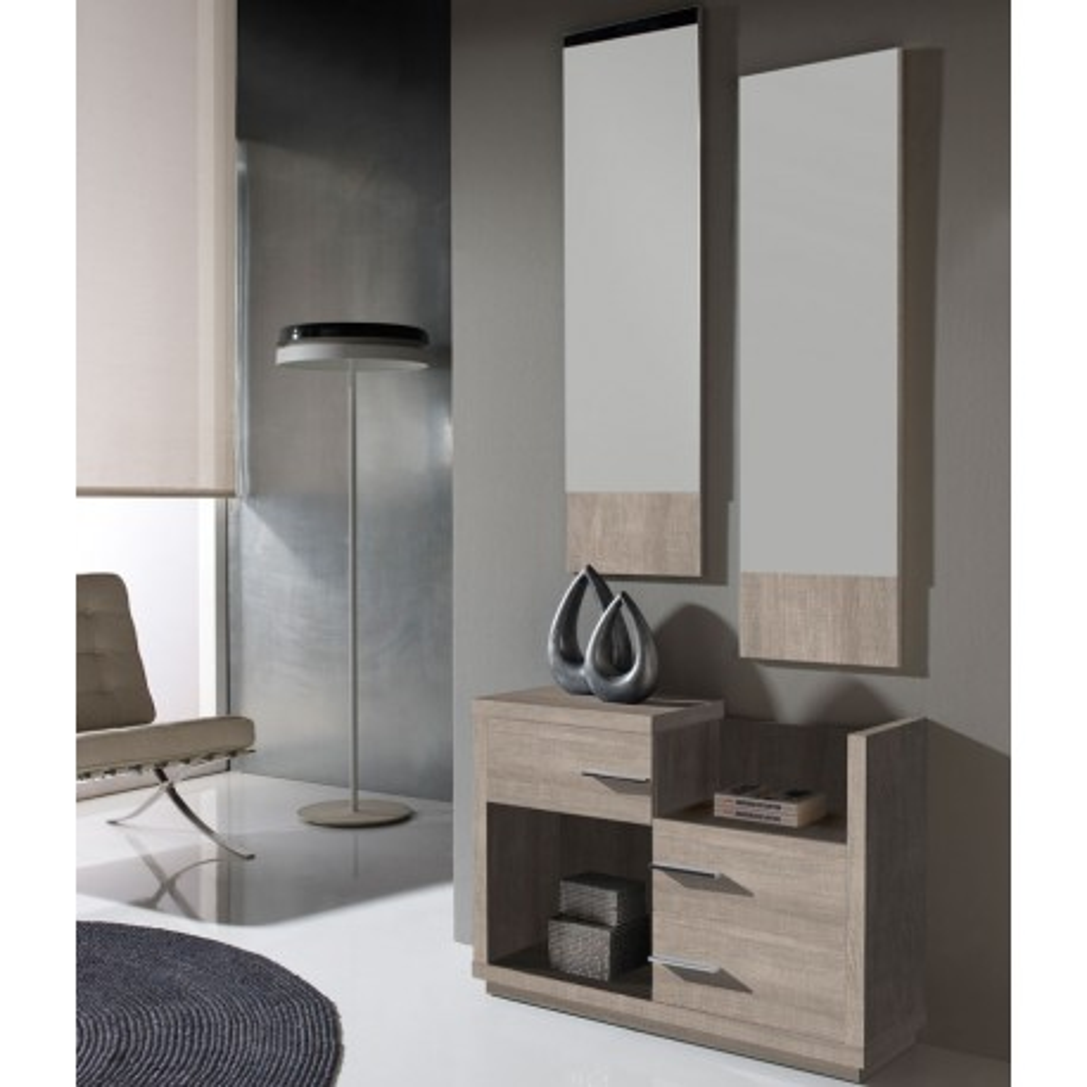 Meuble d'entrée Chêne clair + miroirs - COLBY