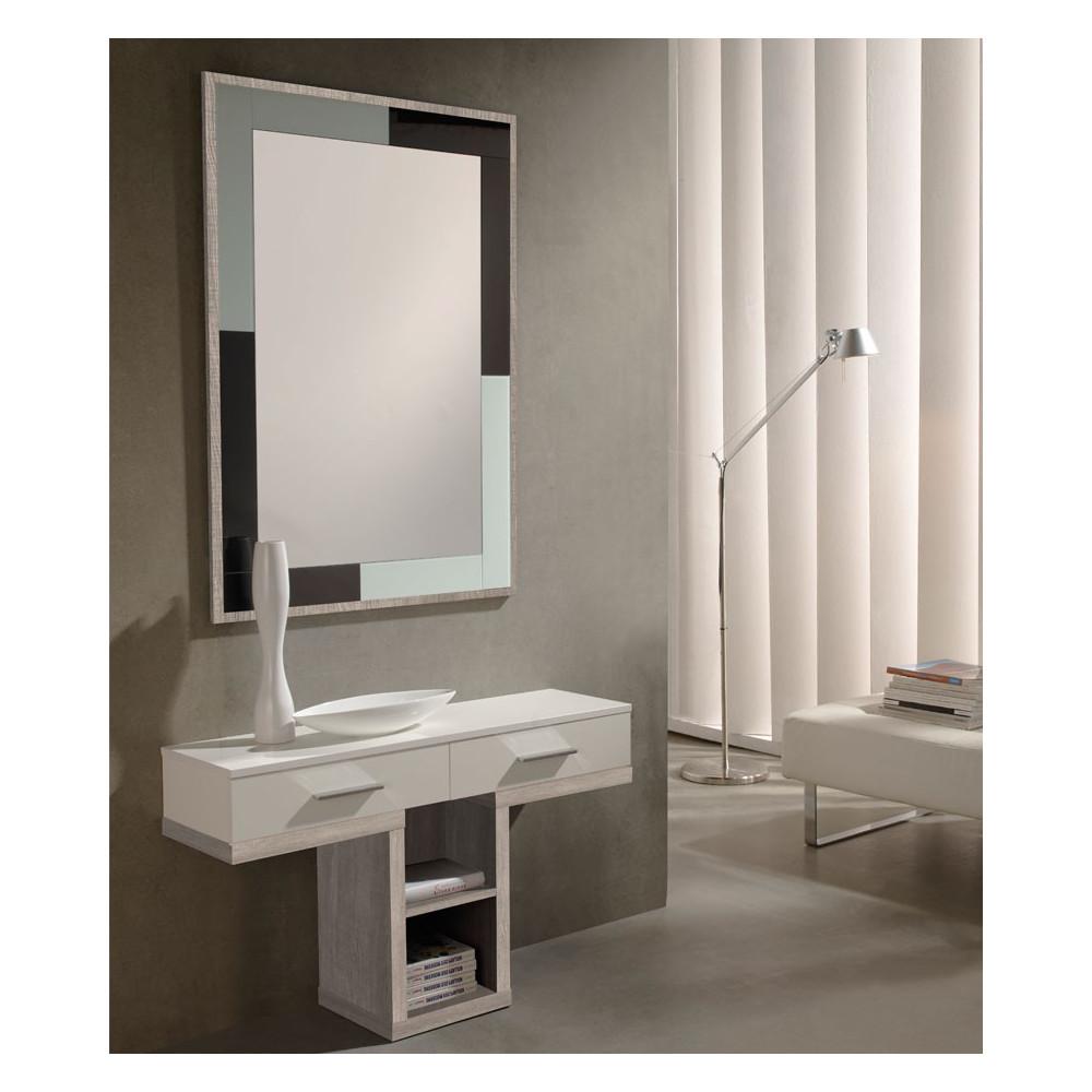 Meuble d'entrée Blanc/Chêne clair + miroir - BRAHA