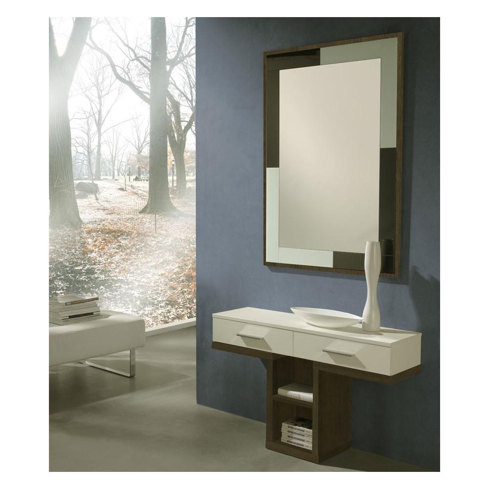 Meuble d'entrée Blanc/Chêne foncé + miroir - BRAHA