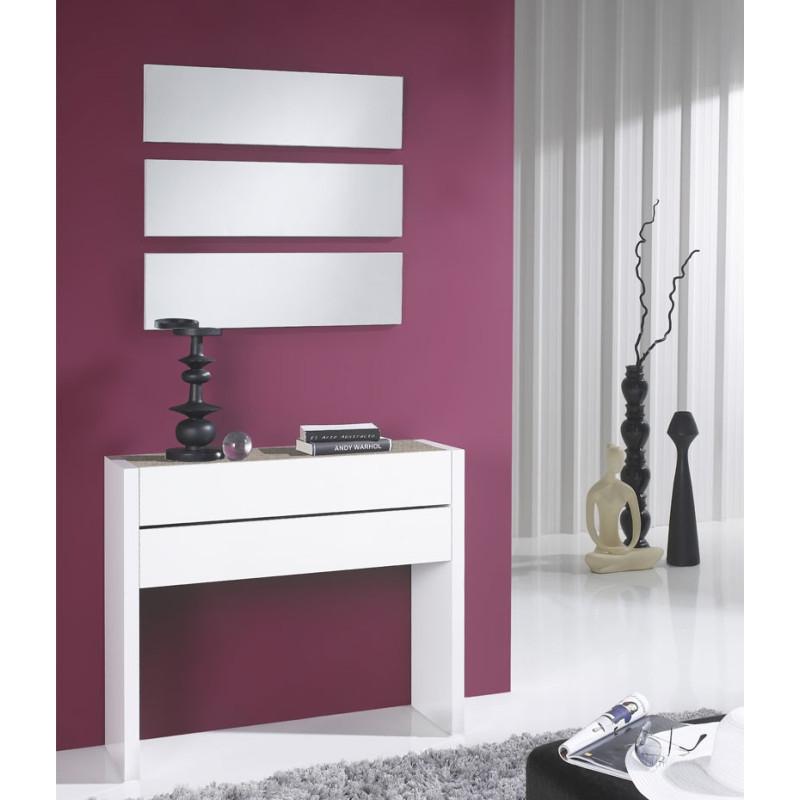 Meuble d'entrée Blanc/Chêne clair + miroirs - NOSILA