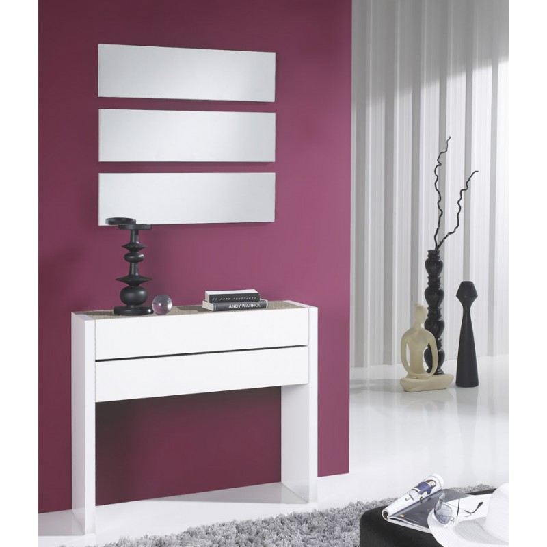 meuble d 39 entr e blanc laqu ch ne clair miroirs nosila petits meubles. Black Bedroom Furniture Sets. Home Design Ideas