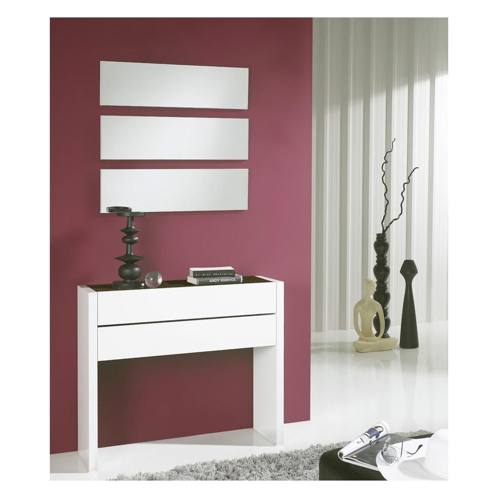 Meuble d'entrée Blanc/Chêne foncé + miroirs - NOSILA