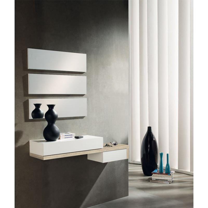 Meuble d'entrée Chêne clair + miroir - YNANG