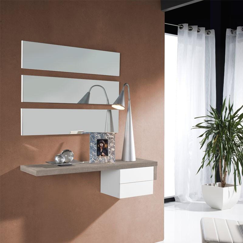 Meuble d'entrée Chêne clair/Blanc + miroir - POSTI