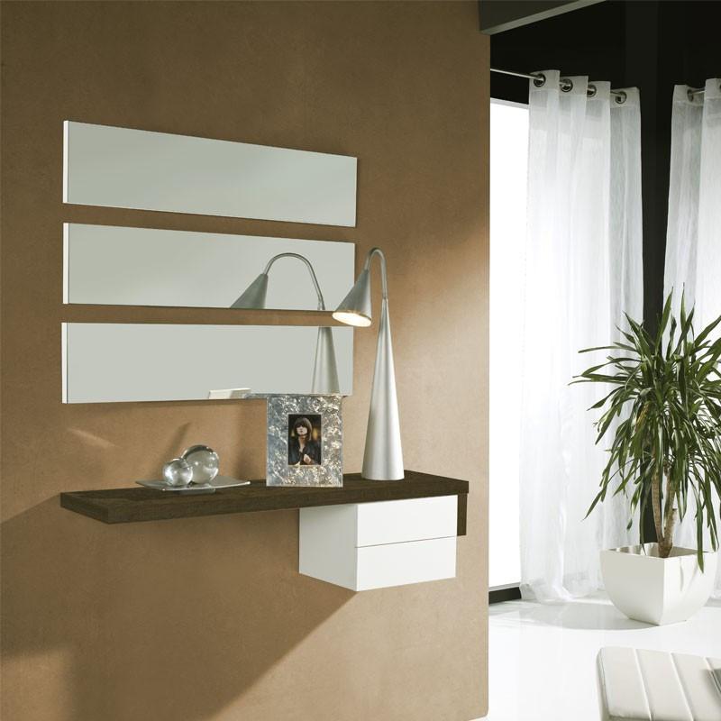 Meuble d'entrée Chêne foncé/Blanc + miroir - POSTI