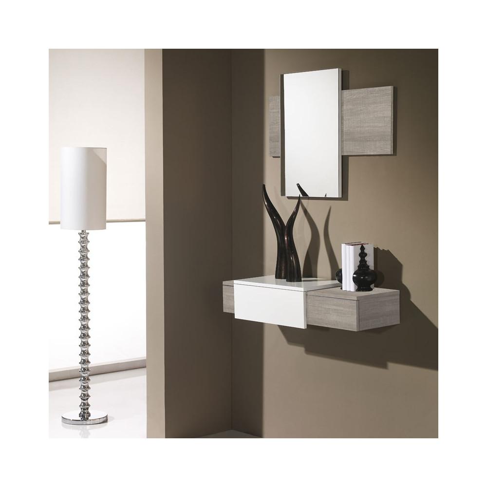Meuble d'entrée Chêne clair + miroir - IMBRO