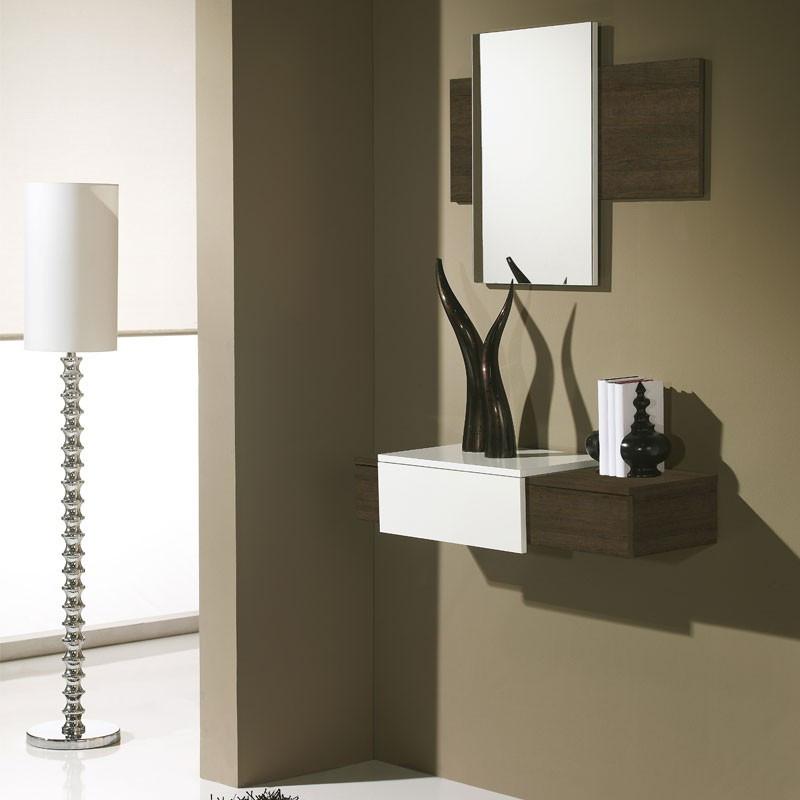Meuble d'entrée Chêne foncé + miroir - IMBRO