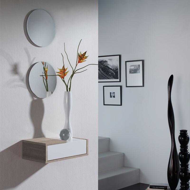 Meuble d'entrée Chêne clair + miroir - SCOPA