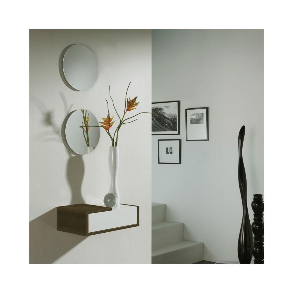 Meuble d'entrée Chêne foncé + miroir - SCOPA
