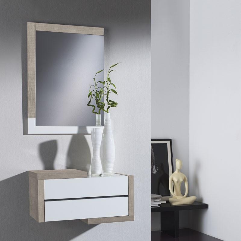 Meuble d'entrée Chêne clair + miroir - RECTO