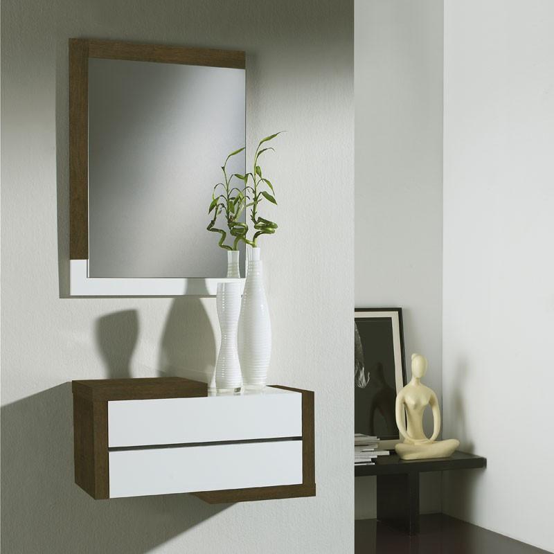 Meuble d'entrée Chêne foncé + miroir - RECTO