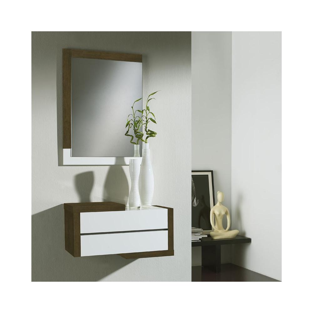 Meuble d 39 entr e ch ne fonc miroir recto univers petits meubles - Meuble d entree miroir ...