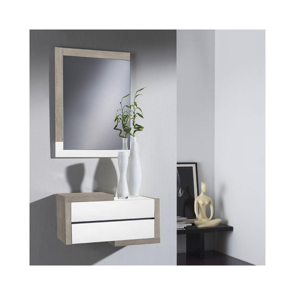 Meuble d'entrée Chêne clair/Bois blanc + miroir - RECTO