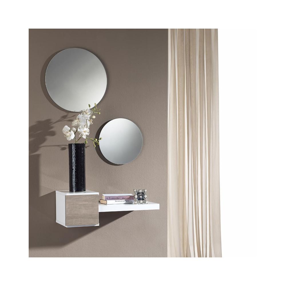 Meuble d'entrée Blanc/Chêne clair + miroir - TIGA