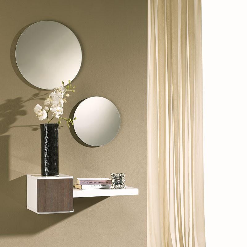 Meuble d'entrée Blanc/Chêne foncé + miroir - TIGA