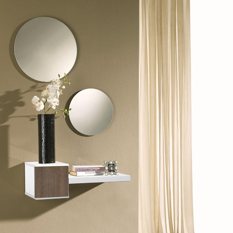 Meuble d'entrée Bois Blanc/Chêne foncé + miroir - TIGA