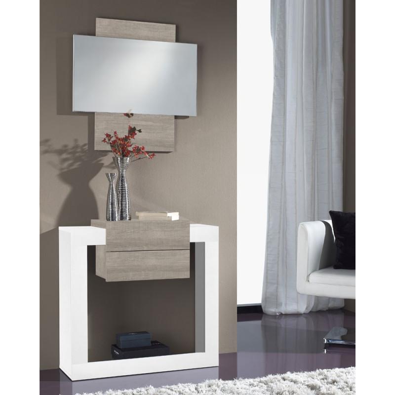 Meuble d'entrée Blanc/Chêne clair + miroir - NEEMA