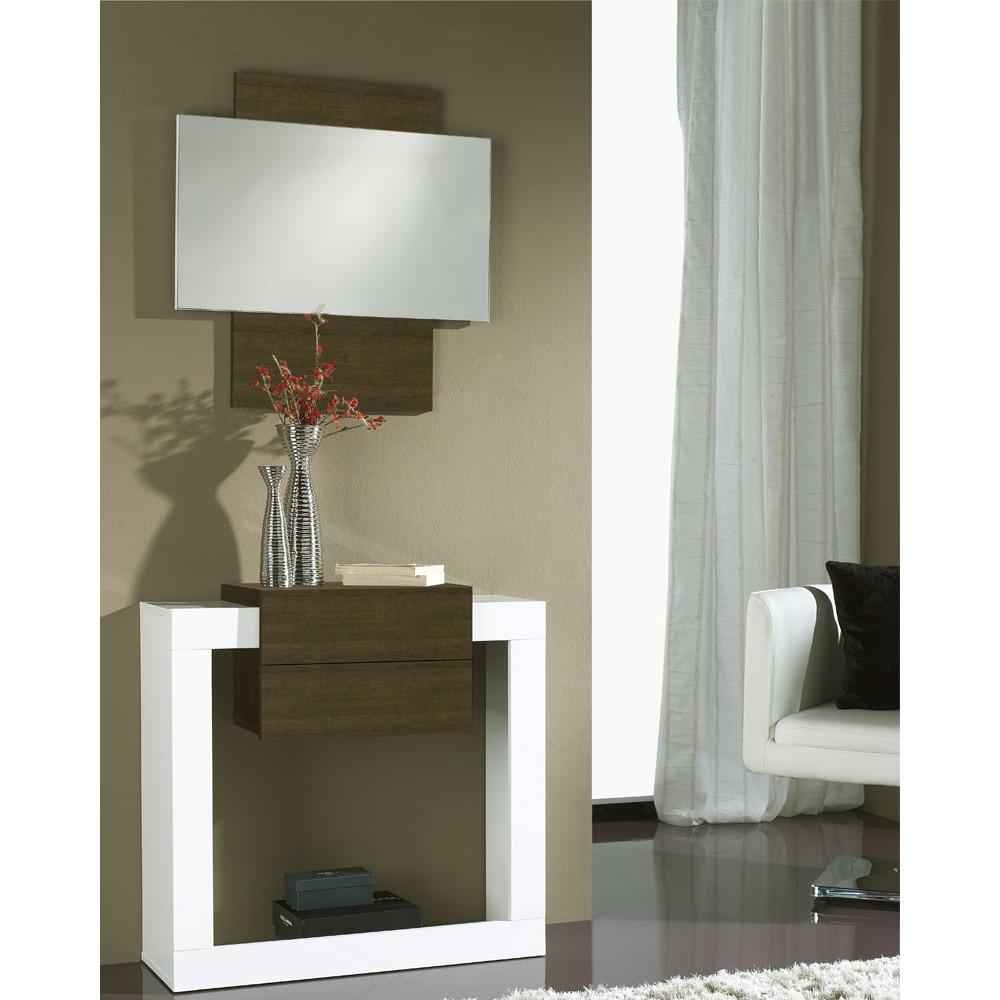 Meuble d'entrée Blanc/Chêne foncé + miroir - NEEMA