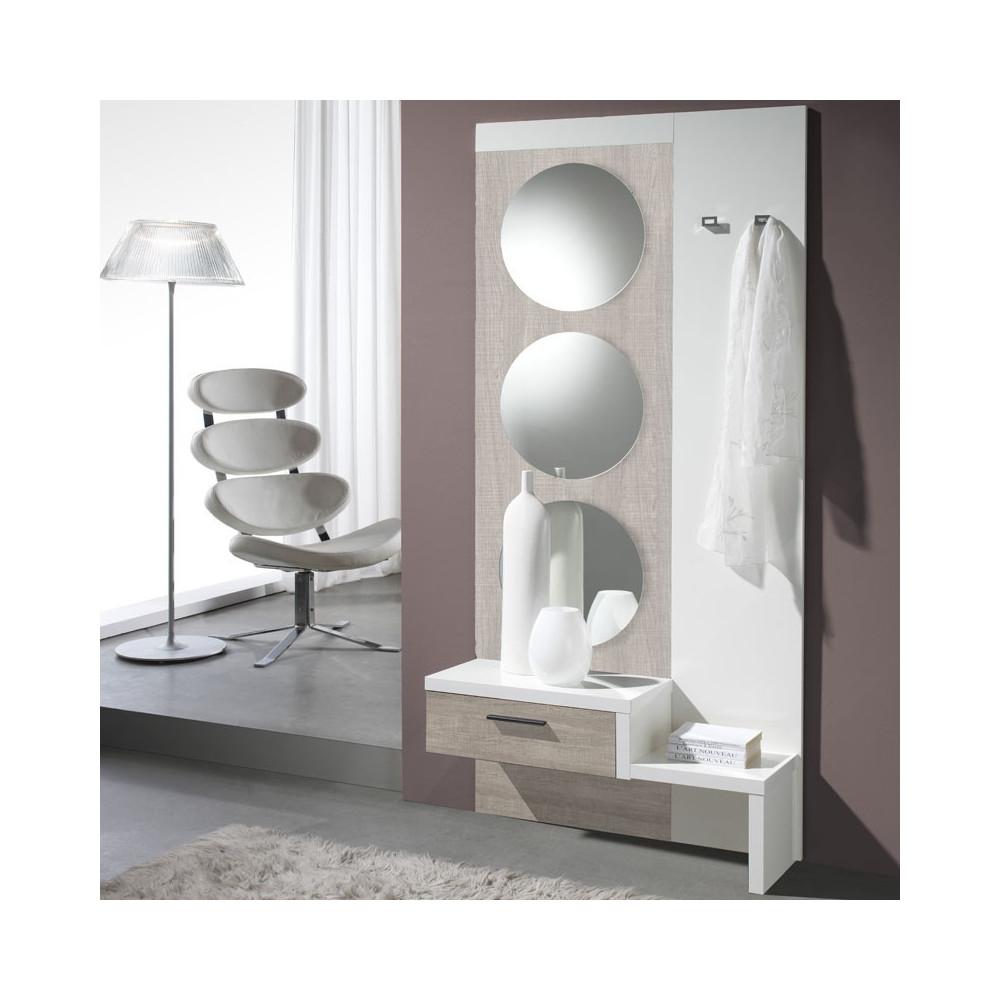 Meuble d'entrée Chêne clair/Blanc + miroir - GOMELLE