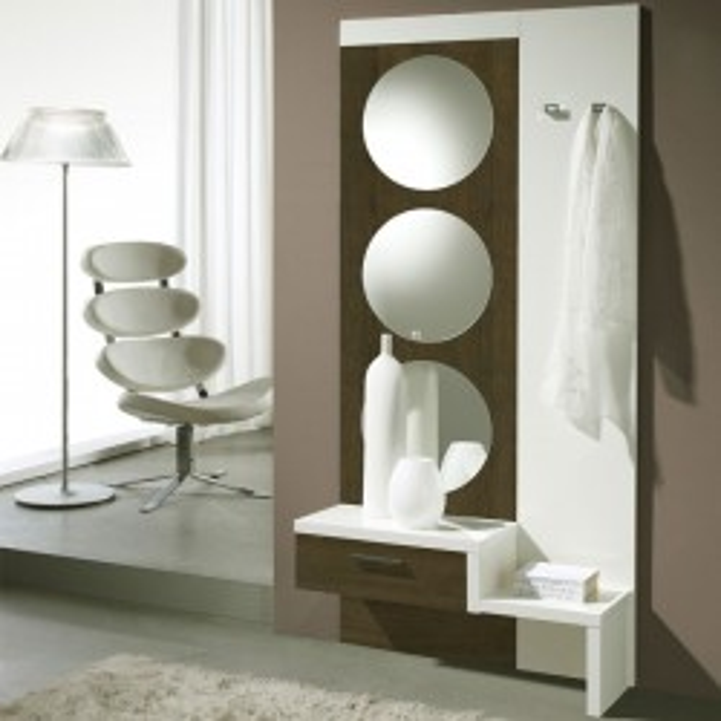 Meuble d'entrée Chêne foncé/Blanc + miroir - GOMELLE