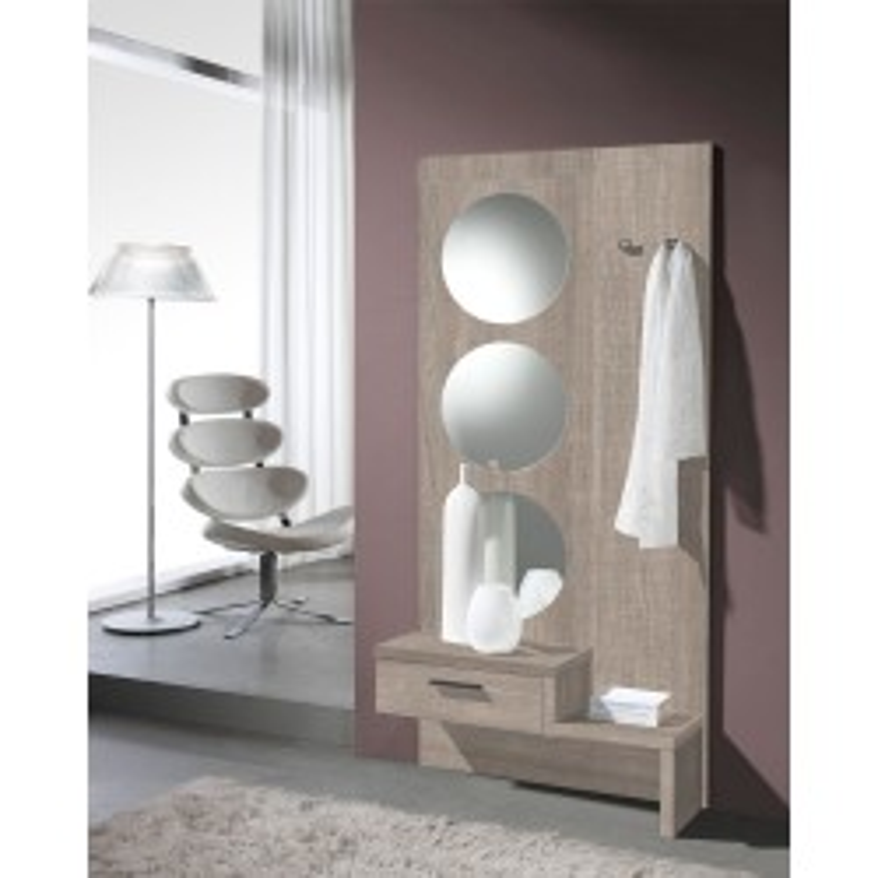 Meuble d'entrée Chêne clair + miroir - GOMELLE