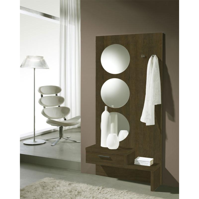 Meuble d'entrée Chêne foncé + miroir - GOMELLE